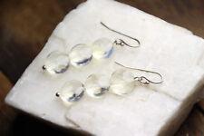 """Citrine Natural Golden Gemstone 9mm Coin Earrings 925 Sterling Silver Hooks 1.5"""""""