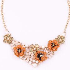 Quality Orange Diamond Pearl Metal Flower Choker Necklace Pendant Lady Jewelry