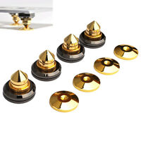 4 pcs M6*28 Speaker Spike + Floor Discs Stand Foot Cone Isolation Spikes Gold