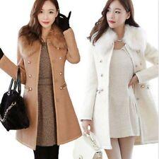Fashion Women Double-Breasted Slim Wool Faux Fur Trench Coat Parka Winter Jacket