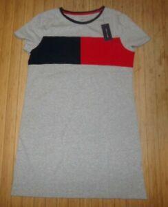 NWT Womens Tommy Hilfiger S/S T-Shirt Dress~GRAY~SZ LRG