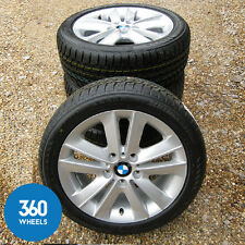 "NEW GENUINE BMW 1 SERIES 17"" V SPOKE 141 ALLOY WHEELS BRIDGESTONE WINTER TYRES"