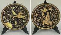 Damascene Gold Dove & Church Design Round Decorative Mini Plate by Midas Spain