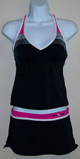 ZEROXPOSUR SWIMSUIT WOMENS 6 TANKINI & SKIRTINI SET Black/Hot pink Active Sport