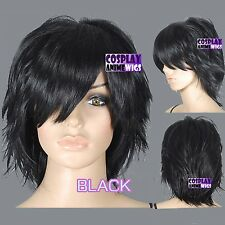 40cm Black Heat Styleable Hand Spikeable Shaggy Cut Cosplay Wigs 64_001