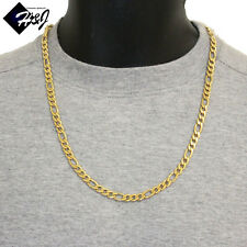 """Figaro Link Chain Necklace*38grams 24""""Men's Stainless Steel 7mm Gold"""