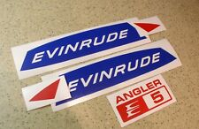 Evinrude Angler 5 HP Vintage Motor Outboard Decal Kit FREE SHIP+FREE Fish Decal
