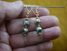 bead beaded dangle Earrings jewelry (ee611-51) White pink flower Cloisonne two