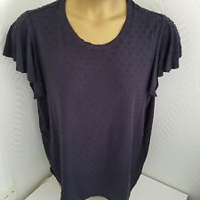 M&S COLLECTION - Slimming Long Navy Dobbie  Angel Sleeve T-shirt  Size 22 - NWT