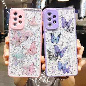 For Samsung S21 Ultra S20 FE A71 A52 A32 Bling Butterfly Clear Epoxy Case Cover