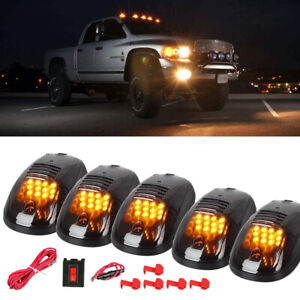 5x Black Smoked Amber 12-LED Cab Roof Marker Running Lights For Truck SUV Dodge