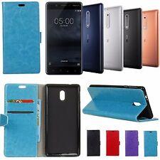 Nokia 3, Nokia 5, Nokia 6,Nokia 8 Leather Wallet Cover Soft Back Case with Stand