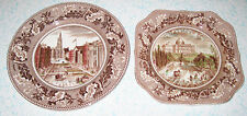 1930 Johnson Bros. Historic America 2 Plates Lunch Square Salad Capitol Wall St