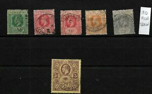 Sierra Leone, 1912 KGV mult crown, selection to 3d used (SL005)
