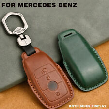 RARLON Genuine Leather car Keychain Suit for Mercedes-Benz A C E S Class Series,GLK CLA GLA GLC GLE CLS SLK AMG Series Durable Keychain Keyring Gift with Logo for Man and Woman