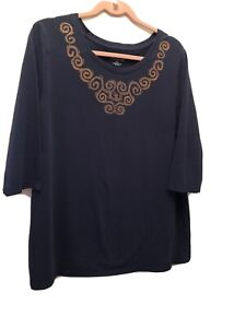 WOMAN'S TOP BY CATHERINES - NAVY BLUE - SIZE 0X (14-16W)