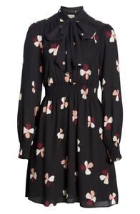 KATE SPADE DUSK BUDS PUSSY BOW DRESS BLACK (SIZE M) RRP £350