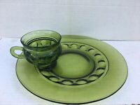 Vintage Indiana Glass Green Kings Crown Thumbprintg Snack Plate & Cup Set