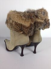 Fiocco Rosso Womens Suede With Faux Fur Boots  Size 37.5 M
