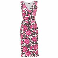 New Phase Eight Pink White Brown Floral Betty Print Dress Sz UK 10