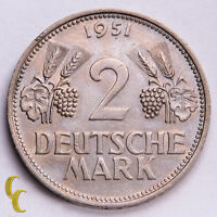 1951-F Germany Deutsche 2 Mark 1 Year Issue (XF) Extra Fine Condition