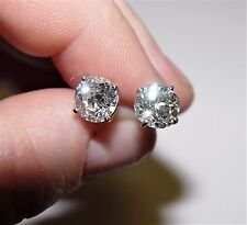 3.48CT TW Old Mine Cut Diamond Stud Earrings 14K NATURAL NOT Treated!