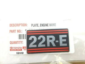Genuine Toyota 22RE Engine Name Plate Decal Sticker 4Runner Pickup Celica