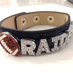 Oakland Raiders Rhinestone Bracelet / Gift for Her / NFL Bracelet / Football Mom