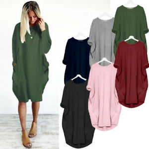 UK Womens Baggy Casual Top Blouse Ladies Loose Party Shift Pocket Mini Dress