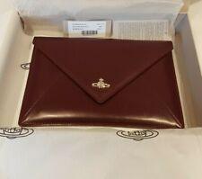 Vivienne Westwood Private Envelope Clutch Bag Burgundy Leather BNWT