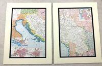1920 Antico Impronte Mappa Di Jugoslavia Montenegro Zagabria Belgrado Sarajevo