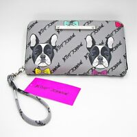 Betsey Johnson Dog Wristlet Zip Around Wallet French Bulldog Gray Faux Leather