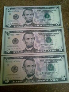2013 series $5 star notes consecutive order low print run from D.C.(2 FILLED IN)