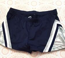 Chasse' Performance Shorts Navy Silver Cheerleader Uniform Shorts Adult Xs