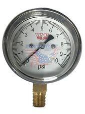 "0-10 PSI Diaphragm Gas Pressure Test Gauge 2-1/2"" Dial X 1/4"" Bottom Mount"