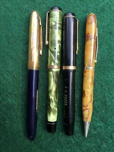 Antique Art Deco Fountain Pens Waverly Waltham Wearever etc.14kt tip