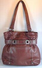 Tignanello Shopper Brown Pebbled Leather Double Strap Large Purse