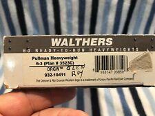 CNC167 HO Walthers D&RGW Pullman Heavyweight 6-3 Car (plan 3523C)  #932-10411
