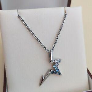 THIERRY MUGLER Collier chaîne pendentif acier inoxydable argenté cristal bijou