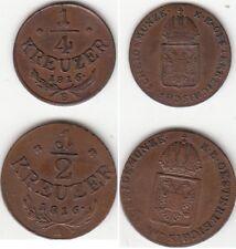 Lot de 2 monnaies en cuivre Autriche 1816 A