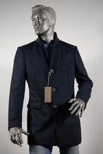 Cappotto moda uomo Blu in misto lana in maglia Slim Fit sfoderato Taglia 52 L