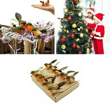 10Pcs Robin Bird Christmas Tree Decorations Craft Artificial Feather Xmas Gifts
