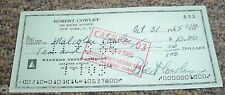 Malcolm COwley & Robert Cowley Signed Check  Well Known Authors