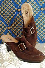 UGG Dark Brown Suede ISABELLA Mules Wool Lined Heels Ladies Size 8.5