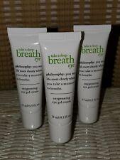 New! Lot of 3 Philosophy Take A Deep Breath Oxygenating Eye Gel Cream 0.5oz EACH