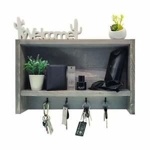Rustic Farmhouse Handmade Modern Hardwood Wall Mounted Shelf Organizer W/ Hooks