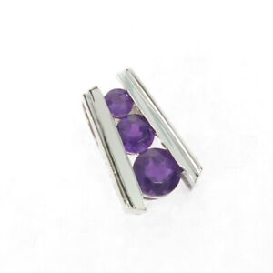 Ross Simons Channel Set Amethyst Graduated 3 Stone Sterling Silver Pendant 1.5g