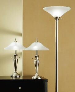 Artiva USA 9478MX Brushed Steel/ Hammer Glass 3-piece Table/ Floor Lamp Set