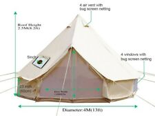 4M Canvas Bell Tent Camping Sibley Tent  Yurt Tents Waterproof Party Stove Jack