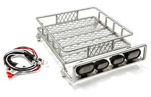 Integy 1/10 Metal Luggage Roof Tray 140x118mm SCX10 & LED Light Kit #C25435 OZRC